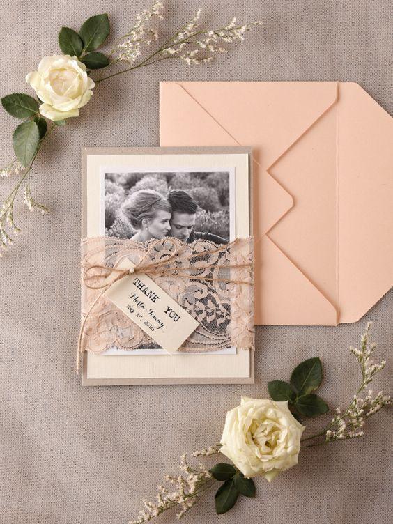 Rustic lace peach thank you cards #rusticwedding #weddinginvitations  #weddingcards