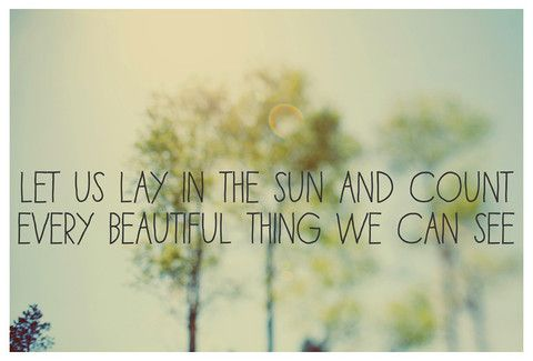 Let us lay in the sun and count every beautiful thing we can see - Alicia Bock