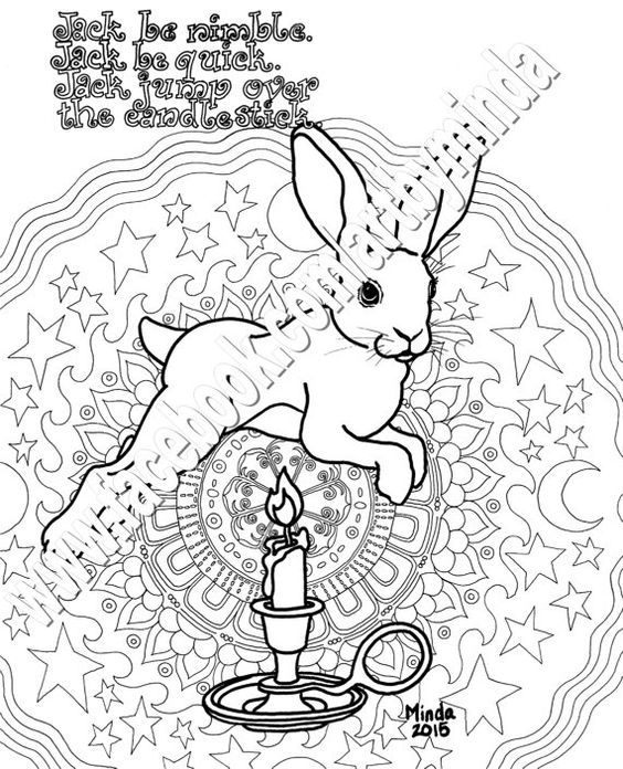 Bunny Nursery Rhyme Coloring Series Jack Be Nimble Bunny