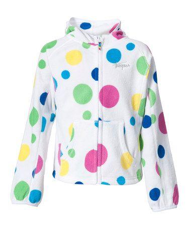 Look what I found on #zulily! White Polka Dot Vivian Fleece Zip-Up Hoodie - Todder & Girls #zulilyfinds