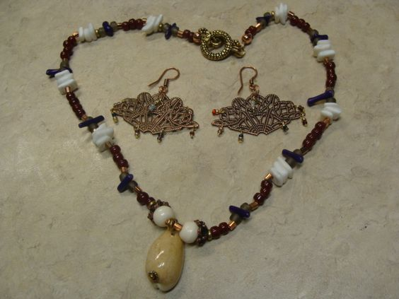 Cowlry, abalone shells and stick coral, antique copper elements, ear rings: fan drop with seed beads Set $15