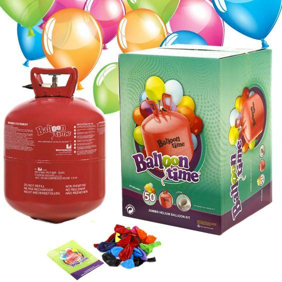 Bouteille d'hélium jetable avec 50 ballons et bolduc