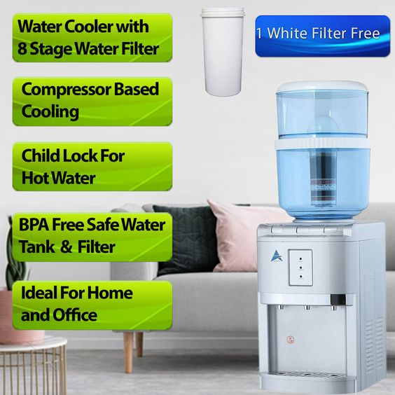 Details About Water Cooler Hot Cold 8 Stage Kdf Water Filter Bench