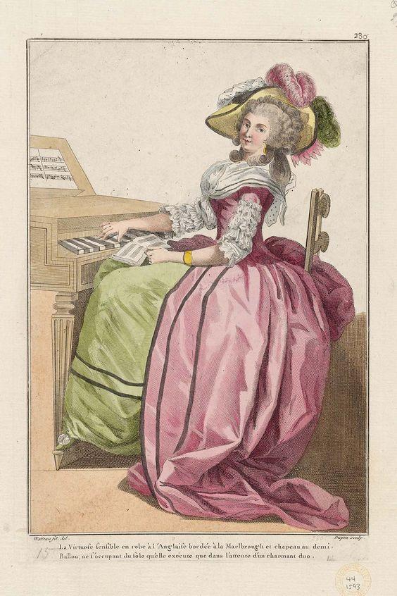 La Virtuose sensible en robe à l'Anglaise bordée à la Marlbrough et chapeau au demi-Ballon, ne s'occupant du solo qu'elle exécute que dans l'attente d'un charmantduo.