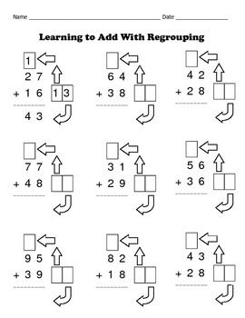 math worksheet : addition with regrouping made easy  8 math worksheets  set 1  : Math Regrouping Worksheets