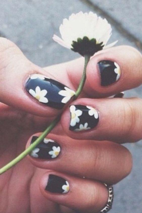 45 Easy Flower Nail Art Designs for Beginners | Flower, Nail art ...