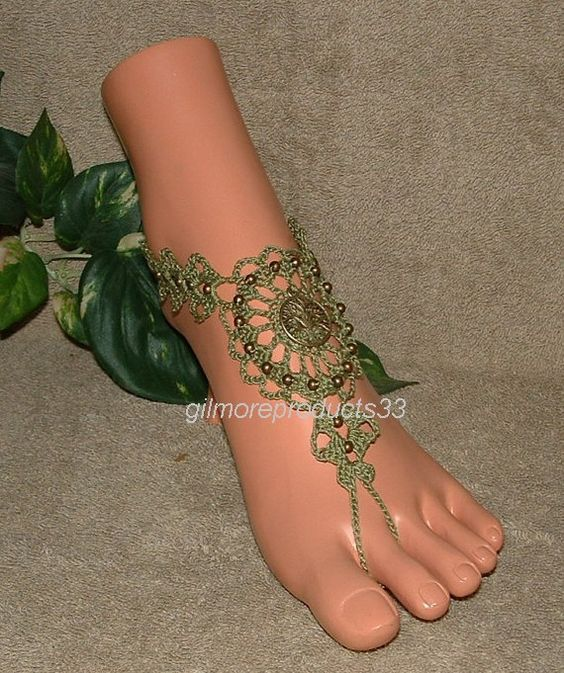 Olive Green Barefoot Sandals Foot Jewelry by gilmoreproducts33