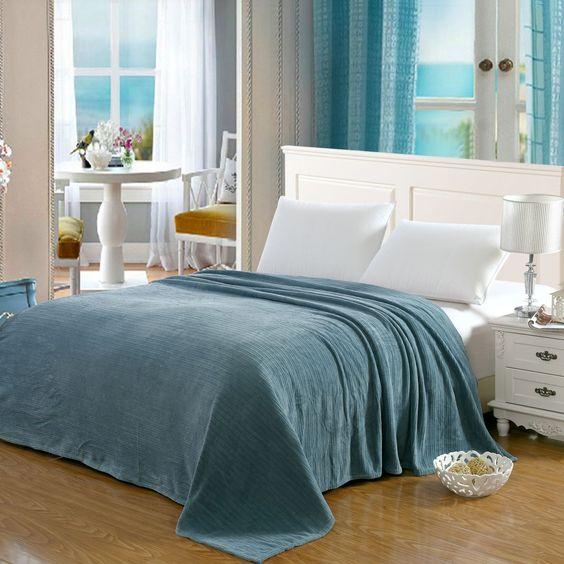Vanessa Solid Micro Plush Blanket Teal