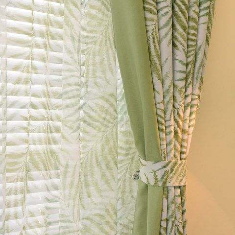 Palm Tree Leaves Green Curtain With Green Border Made To Measure Green Curtains Lime Green Curtains Green Curtains Living Room