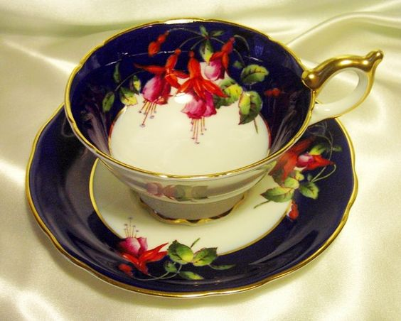 Coalport Cabinet Tea Cup  Saucer ~Fuschias ~ Cobalt Blue from perfectlyposh on Ruby Lane