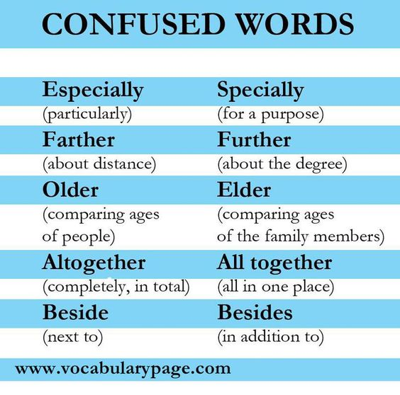 Confused words #English www.vocabularypage.com: