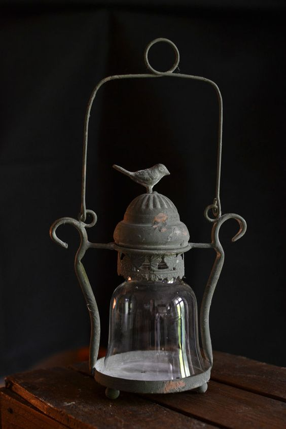 Vintage style bird lantern tea light vintage style home for Diy hanging tea light candle holders