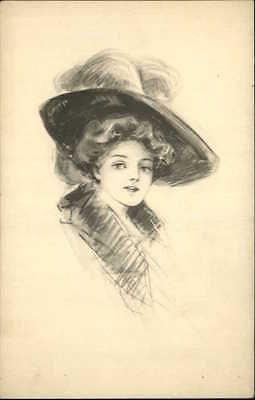 Pretty-Woman-Big-Hat-Schlesinger-Bros-Pencil-Sketch-Old-Postcard-c1910