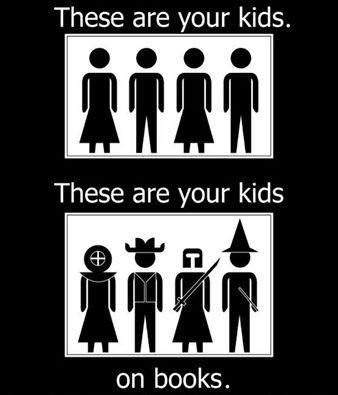 Kids and books.