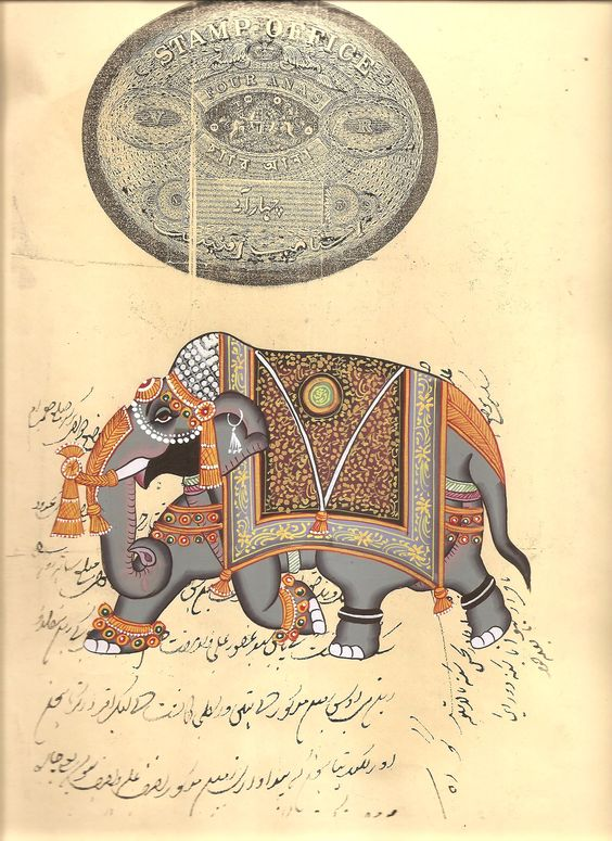 indian decorated elephant subject indian nature painting elephant trot paint material opaque watercolors base material stamp paper size 8 in