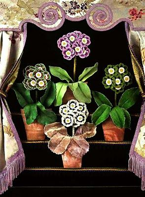 Auricula Theatre. Hand embroidered silk raised work by Janet Haigh #gardentheatre