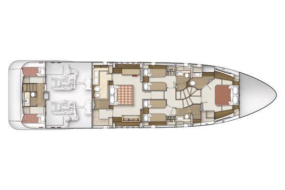 Azimut 78 Flybridge Lower Deck Layout - 2 Cabin Version