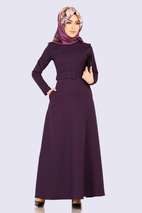 Modaselvim Elbise Kemerli Tesettur Elbise Ukb5002 Mor Fashion Hijab Fashion Dresses