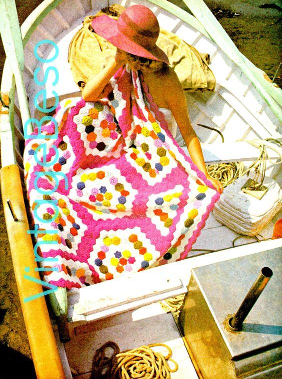🎱 Retalhos Navegação JARDIM 1970 Crochê Padrão Clássica -  / 🎱 Patchwork Sailing FLOWER GARDEN 1970s Vintage Crocheting Standard -