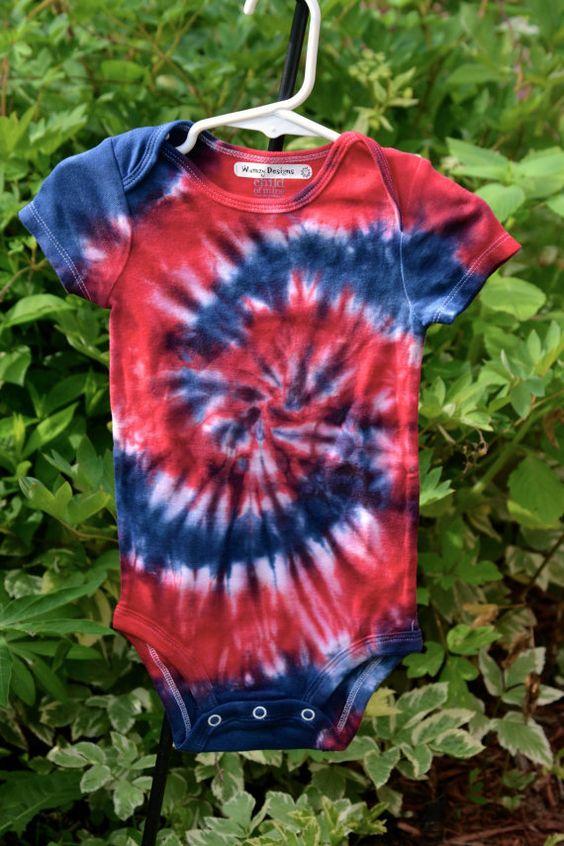 18 month Patriotic Tie Dye Short Sleeved Onesie by wumzydesigns