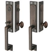 Arts & Crafts Style Tubular Latch Double Door Entryway Set (Rubbed Bronze Finish) from Lookintheattic.com