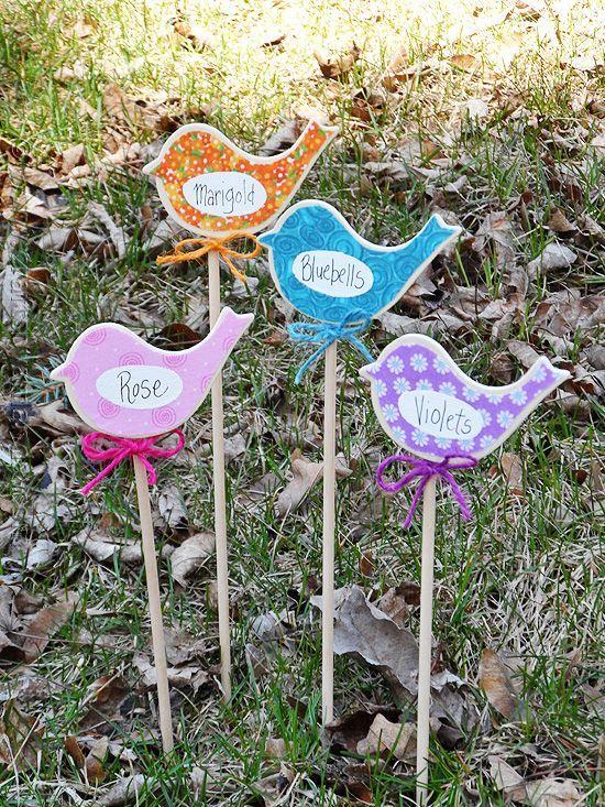 Birdy Flower Markers for Your Garden at CraftsbyAmanda.com @amandaformaro