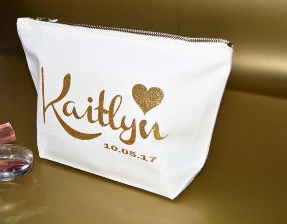 Personalised make up vanity cosmetic wedding bag, bridesmaid gift, wedding gift by ZoeEdenweddings