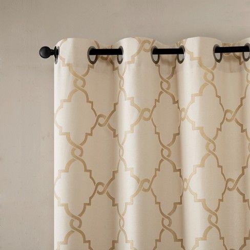 Sereno Fretwork Print Curtain Panel Beige Gold 50 X84 Panel