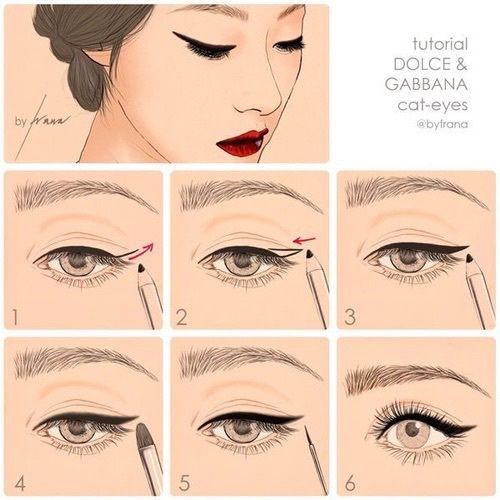 steps, make up, eyeliner