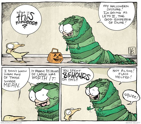 strip for October / 31 / 2013 - The God-Emperor of Dune Likes Full-Size Snickers Bars #Halloween