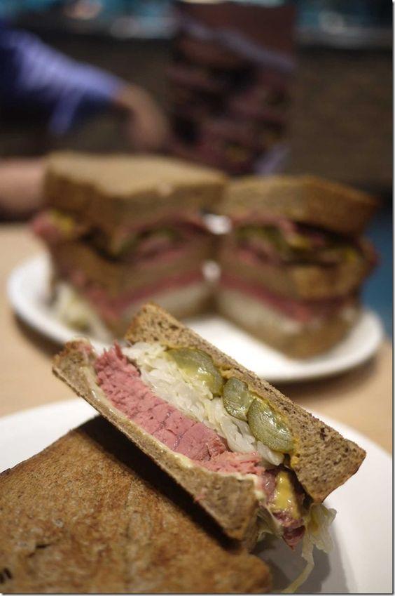 ... , sauerkraut, pickles, Swiss cheese and honey mustard with rye bread
