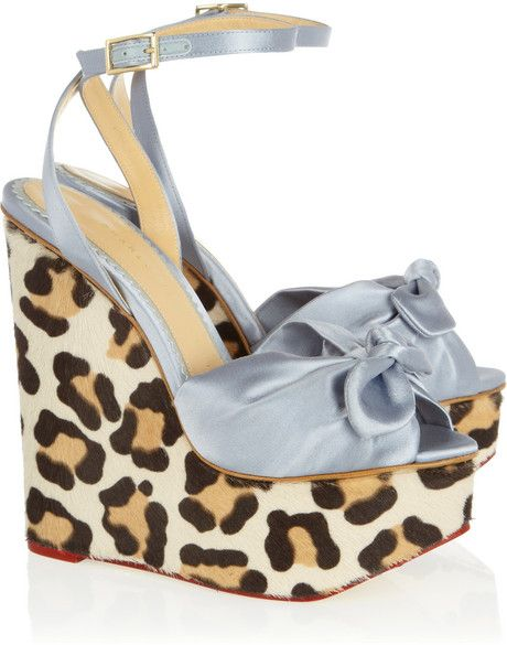 CHARLOTTE OLYMPIA LONDON  Miranda Satin and Calf Hair Wedge Sandals - Lyst