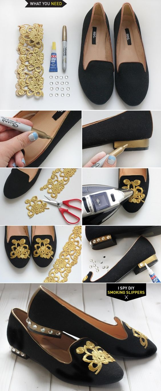 DIY Projects - SMOKING SLIPPERS....Make a pair with your wedding theme. Great for the Bridal Shower, Rehearsal Dinner, etc. If you can't do, find that person that's crafty & ask to do as a bridal or wedding gift.: