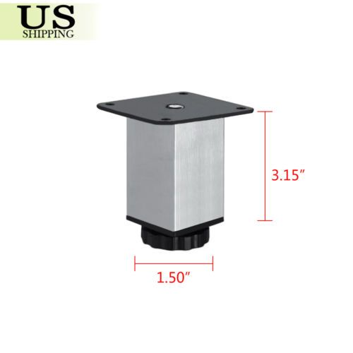 4x Stainless Steel Square Plinth Leg Feet Cabinet Kitchen Stand