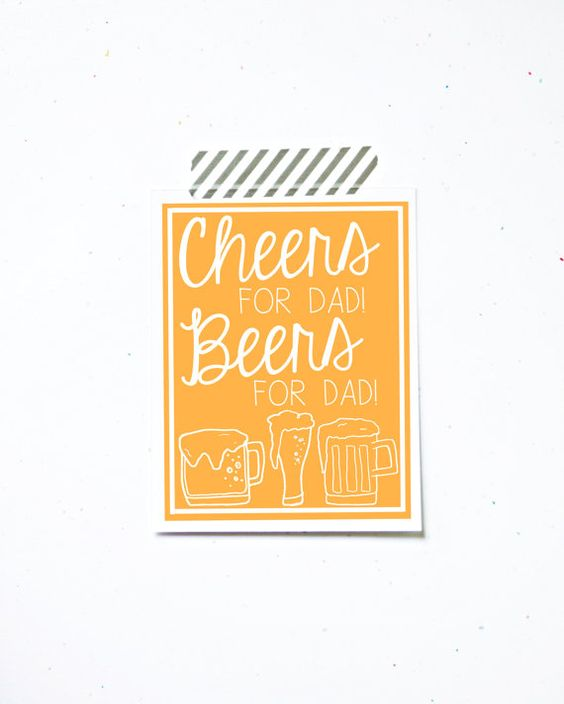 Cheers for dad beers for dad drinking fathers day greeting card by LittleSloth, $4.00