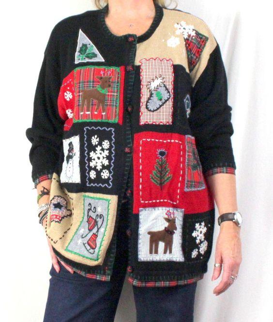 Ugly Christmas Sweater 2x Size Reindeer Ice Skates Tartan Flare Mits Birds Mens Womens