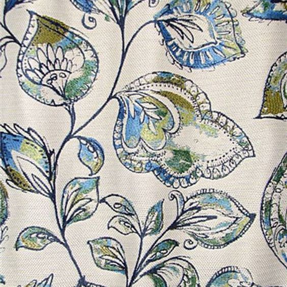 This is a woven blue, green, gold and natural floral leaf upholstery fabric by Swavelle Mill Creek Fabrics, suitable for any decor in the home or office. Perfect for pillows, cushions and furniture.v112DEF