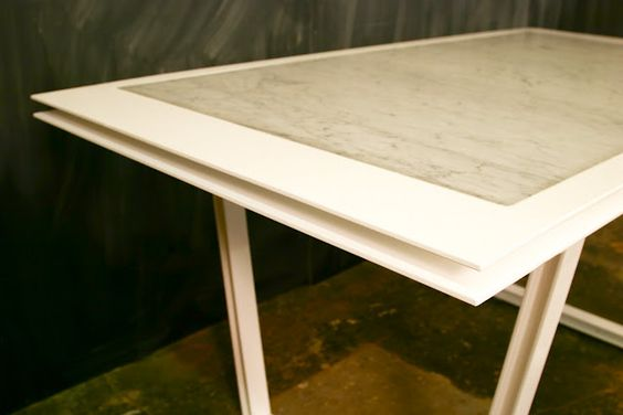 Power coated plate steel and Carrera Marble