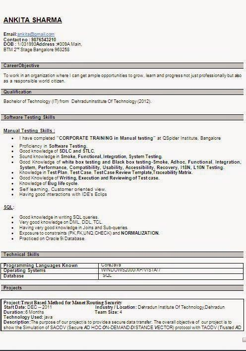 Qspiders Sample Resume In 2020 Examples Of Objectives Bachelor Of Technology Curriculum Vitae Resume