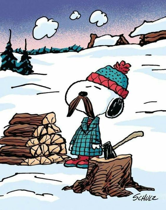 Snoopy with a mustache and chopping firewood.
