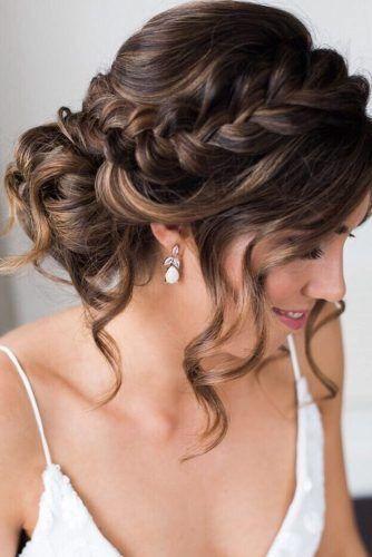 Romantic Loose Strands Braided Bridal Updo My Sweet Engagement Short Wedding Hair Long Hair Styles Wedding Hair Inspiration