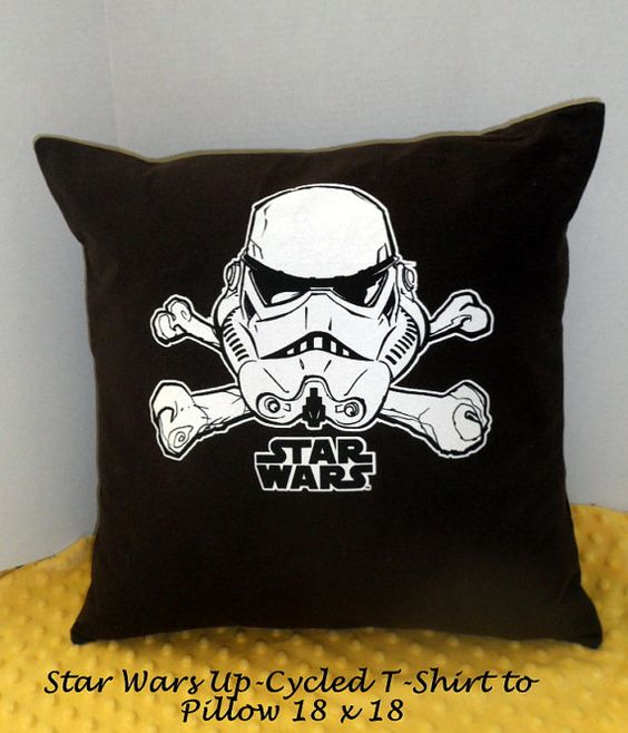 Star Wars Pillow, Brown with White Star Wars Up-cycled T-shirt to Pillow. Star Wars Fan Pillow