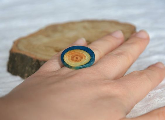 Hey, I found this really awesome Etsy listing at https://www.etsy.com/uk/listing/481149069/blue-wooden-ring-unique-wood-ring-with