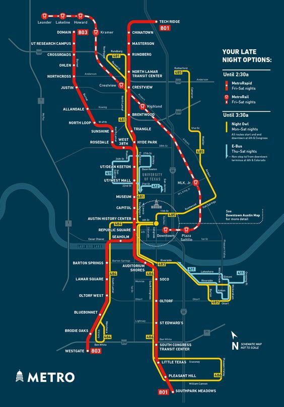 Owl Service Transit Map  Austin Cap Metro  Big Board Of
