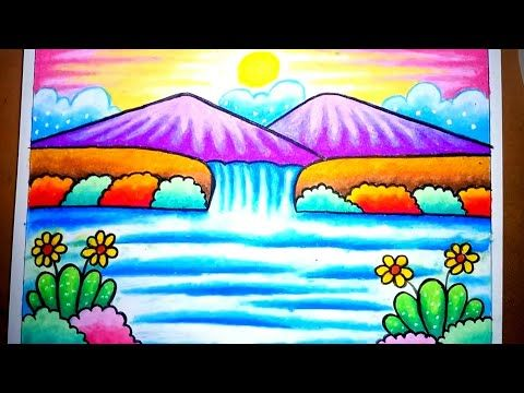 Cara Menggambar Dan Mewarnai Pemandangan Air Terjun Dan Gunung