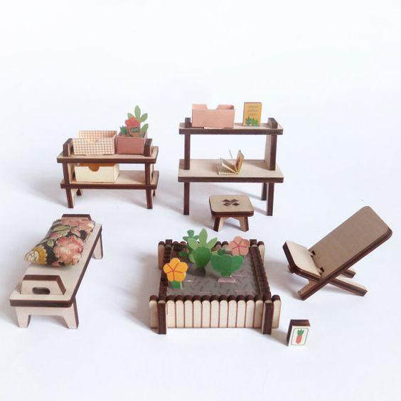 jardin d 39 hiver mobilier pour maison de poup e en bois et papier monter jardins. Black Bedroom Furniture Sets. Home Design Ideas