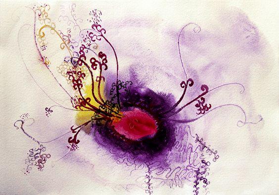 De mi serie: semillas. Todo nace de un centro... Acuarela sobre papel.
