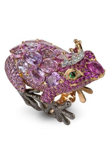 Lydia Courteille's Frog Ring: yellow gold and rhodium, pink sapphires, diamonds and green garnets.: