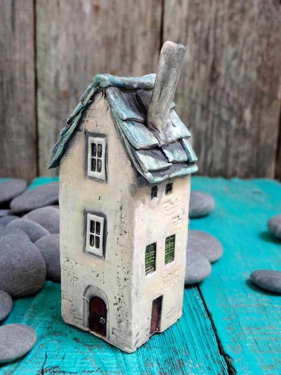 Old French house green roof - OOAK porcelain mini house- handmade ceramic miniature