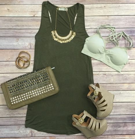 Let's Just Relax Tunic Dress: Olive